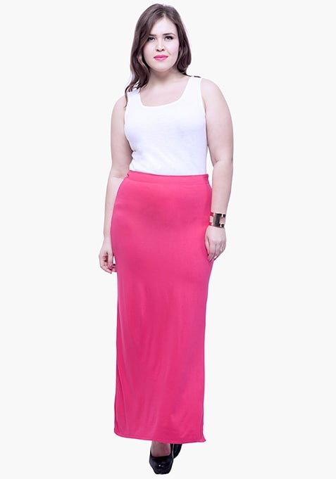 CURVE Free Flare Slit Maxi Skirt - Pink