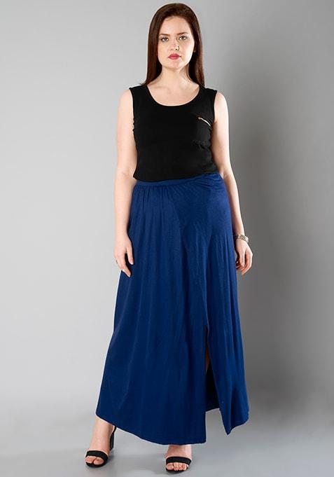 CURVE Wrap Maxi Skirt - Blue