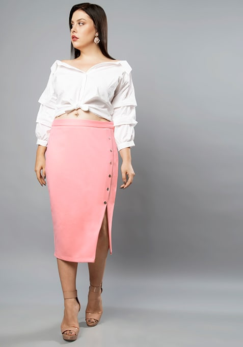 CURVE Pink Buttoned Slit Pencil Skirt