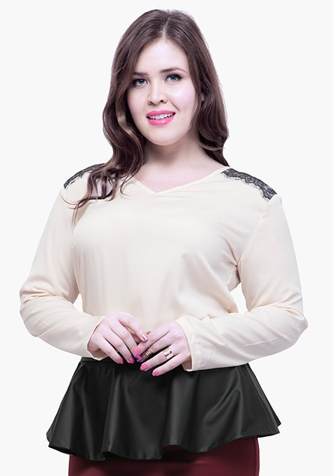 CURVE Lace Trance Blouse - Blush