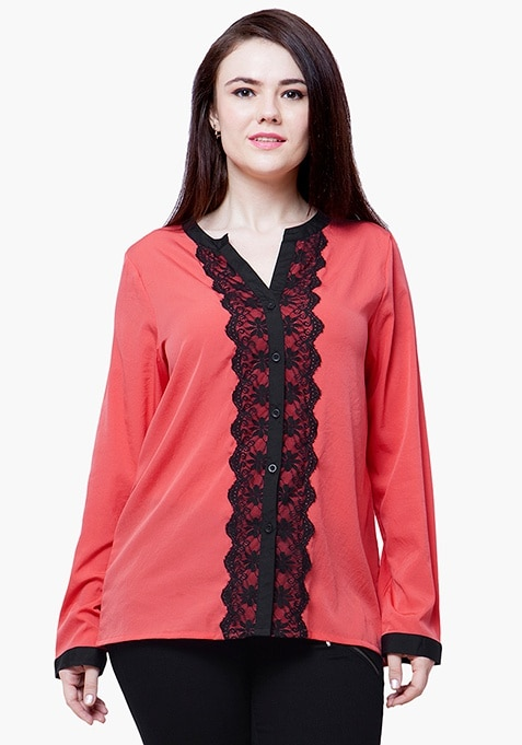 CURVE Lace Delight Blouse - Coral