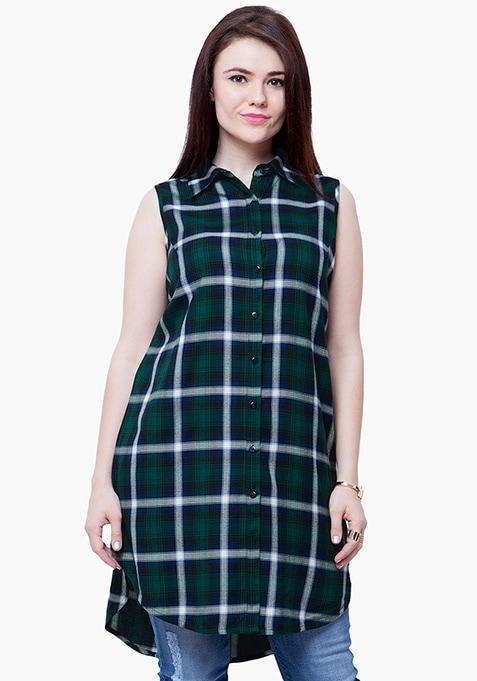 CURVE Tartan Longline Shirt - Green