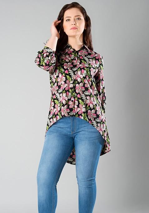CURVE Round Hem Shirt - Tropical