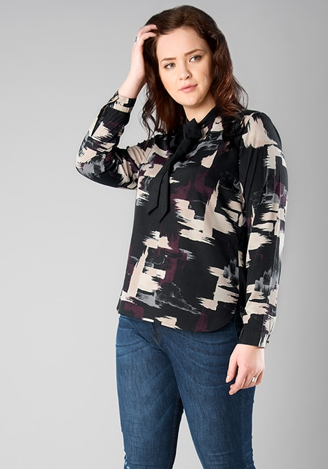 CURVE Abstract Pussy Bow Blouse
