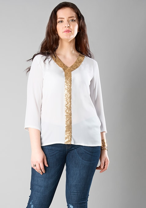 CURVE Sequin Strip Blouse - White