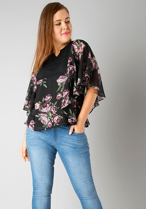 CURVE Flared Sleeve Blouse - Black Floral