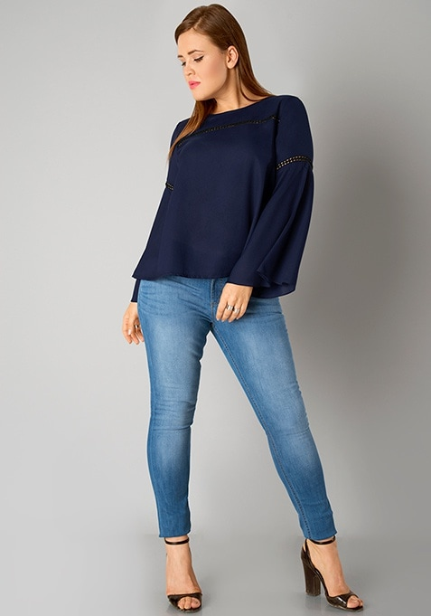 CURVE Lace Insert Bell Sleeve Blouse - Navy