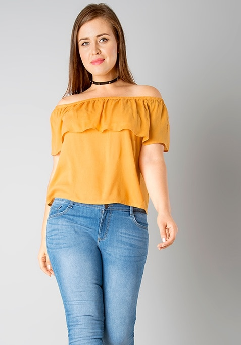 CURVE Off Shouder Ruffled Top - Mustard