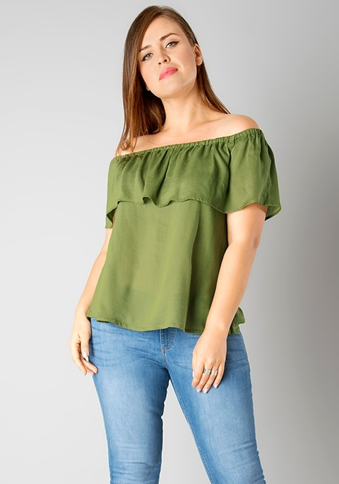 CURVE Off Shouder Ruffled Top - Olive