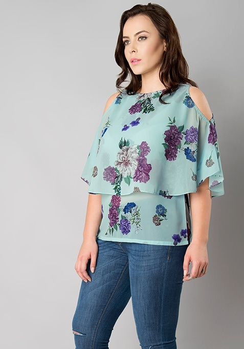 CURVE Cold Shoulder Poncho Top - Purple Floral