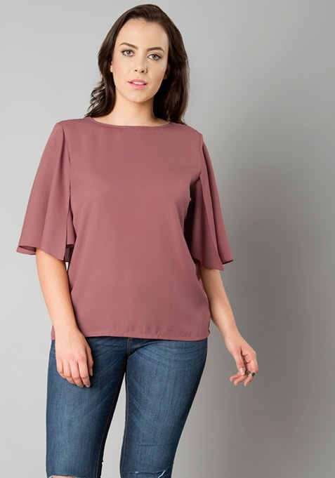 CURVE Back Cape Blouse - Dusty Pink