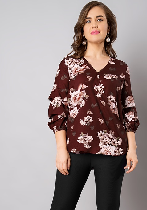 CURVE Oxblood Floral Layered Sleeve Top