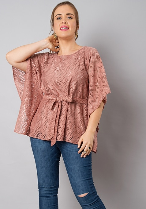 CURVE Pink Belted Lace Kaftan Top