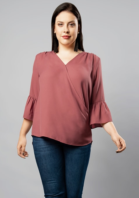 CURVE Pink Bell Sleeve Top