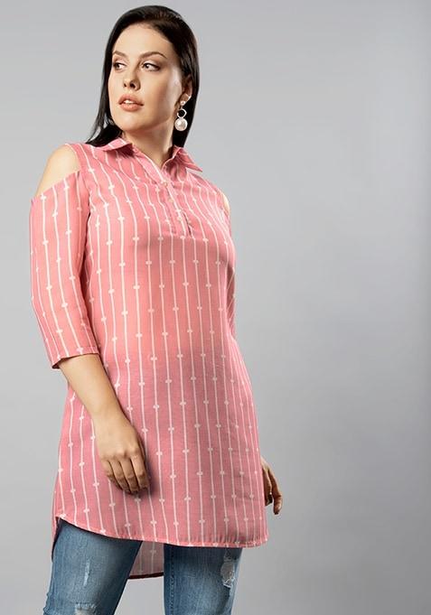 CURVE Pink Striped  Cold Shoulder Longline Top