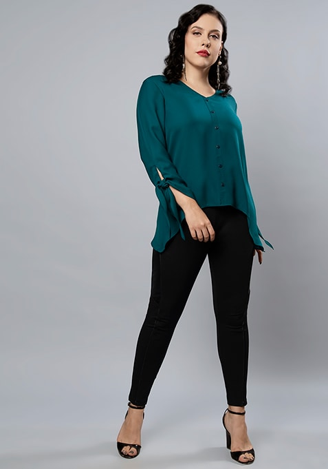 CURVE Teal  Sleeve Tie Up Blouse