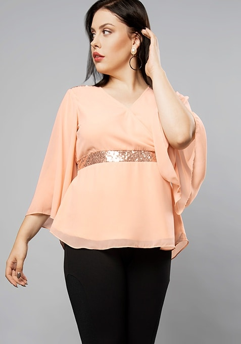 CURVE Blush Overlapping Neck Sequin Top