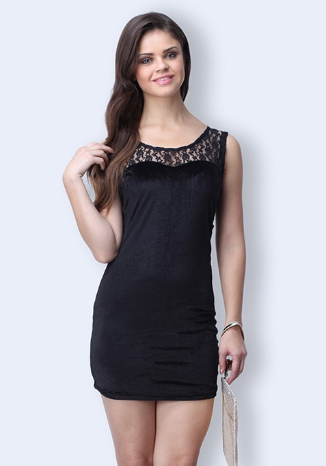 Splendid Night Velvet Dress - Black