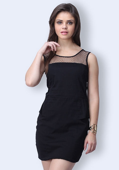 Sweep Away Peplum Dress - Black