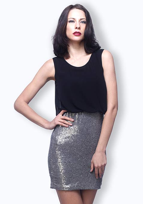 Midnight Dazzle Blouson Dress