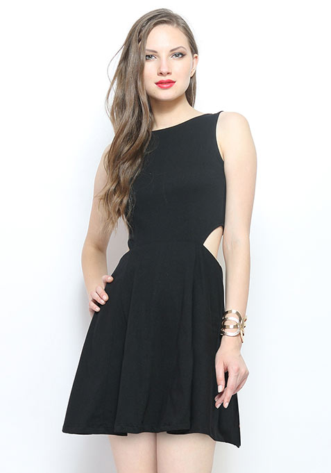 Sweet Tease Cutaway Dress - Black