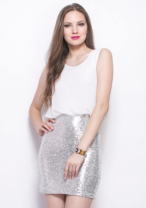Silver Sizzle Blouson Dress