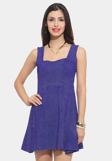 Counting Dots Skater Dress - Blue