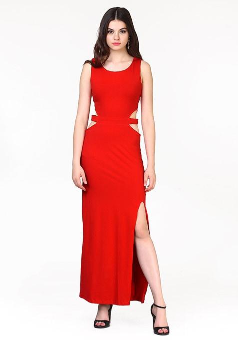 Sneak Peek Maxi Dress - Red