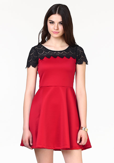 Sweet Swing Skater Dress - Red