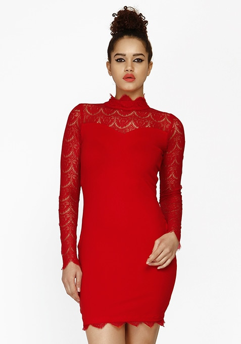 Lace Flair Bodycon Dress - Red