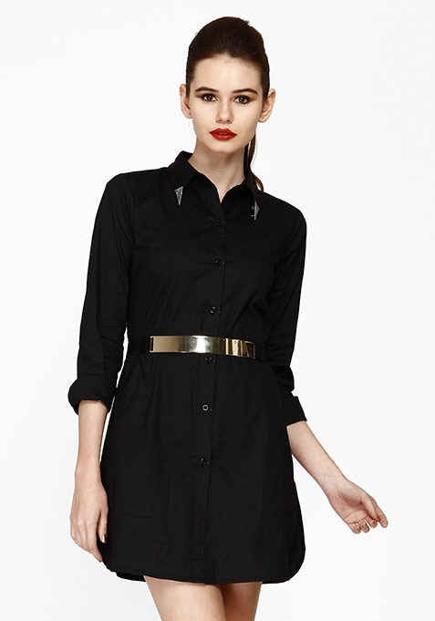 Uber Chic Shirt Dress - Black