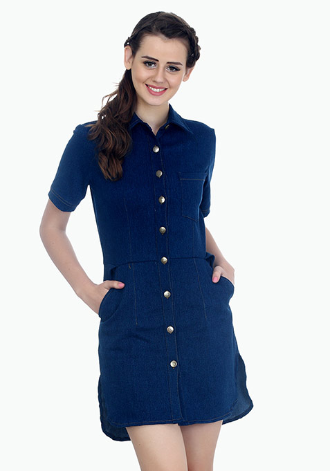 Soldier On Dark Denim Shirt Dress