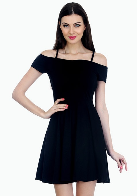 Strappy Shoulders Skater Dress - Black
