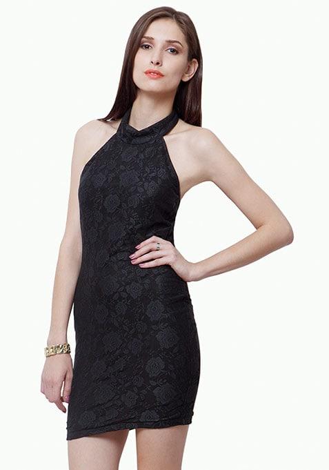 Lace Grace Halter Bodycon Dress