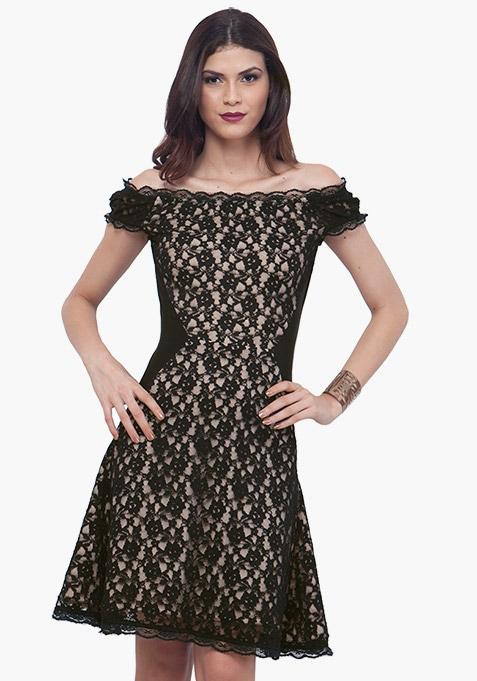 Black Surprise Lace Skater Dress