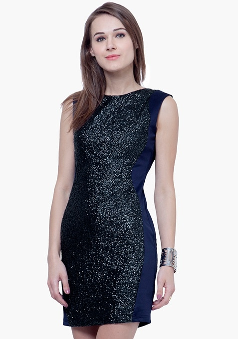 Sequin Marvel Mini Dress - Navy
