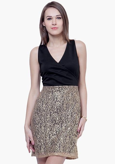 Shimmer Chic Mini Dress - Black