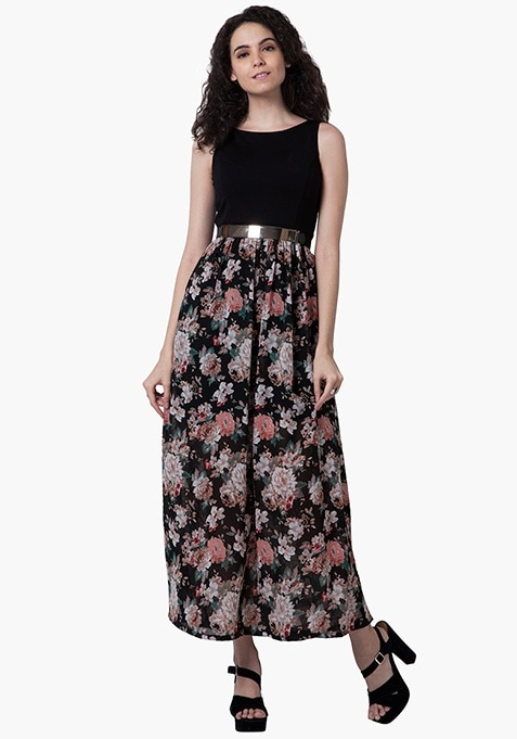 Floral Fierce Maxi Dress - Black