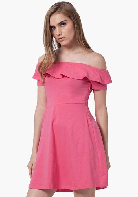 Off-Shoulder Ruffled Dress - Pink