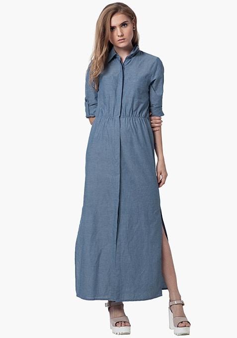 Denim Maxi Dress - Light Wash
