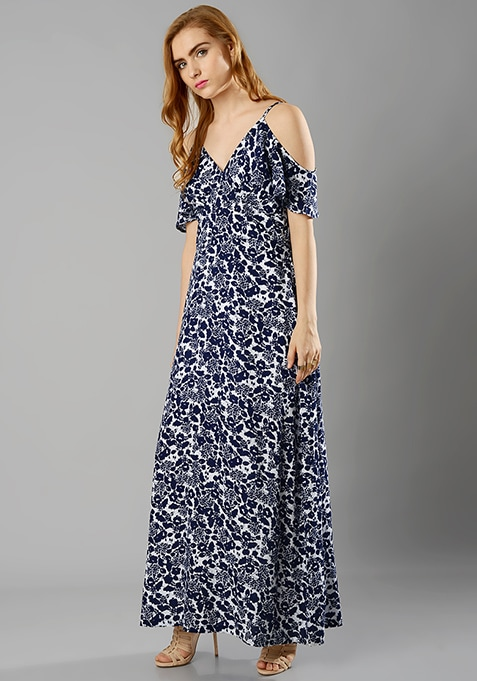Cold Shoulder Maxi Dress - Floral