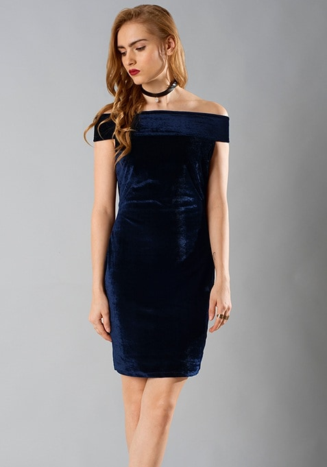 Off-Shoulder Velvet Dress - Navy
