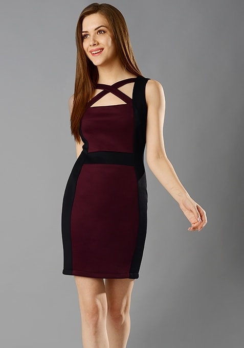Cross Out Bodycon Dress - Oxblood