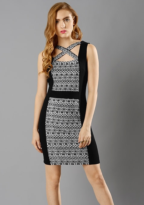 Cross Out Bodycon Dress - Aztec