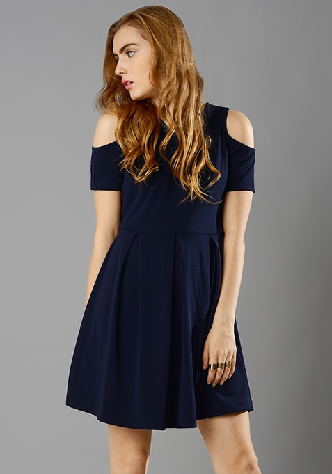 Navy Cold Shoulder Skater Dress