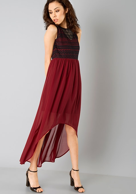 Lace High Low Dress - Oxblood