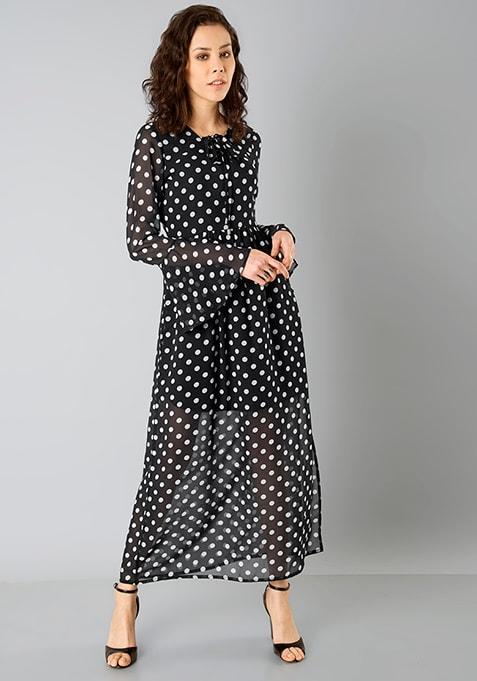 Bell Sleeve Maxi Dress - Polka