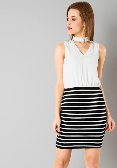 Choker Blouson Dress - Stripes