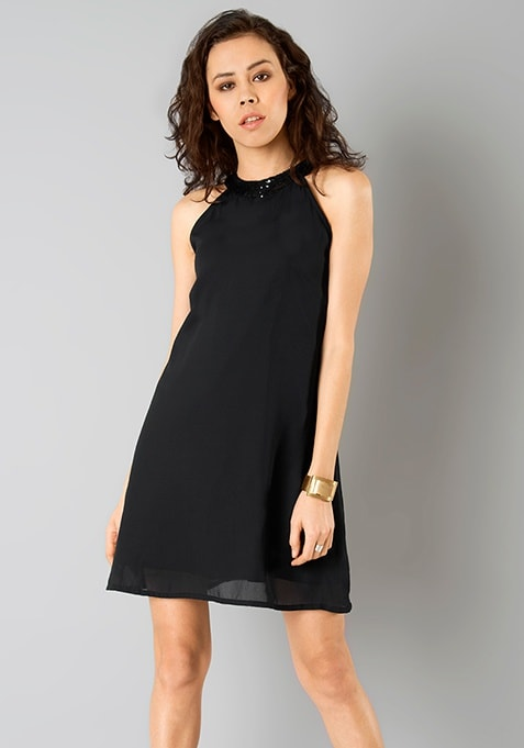 Sequin Neck Shift Dress - Black