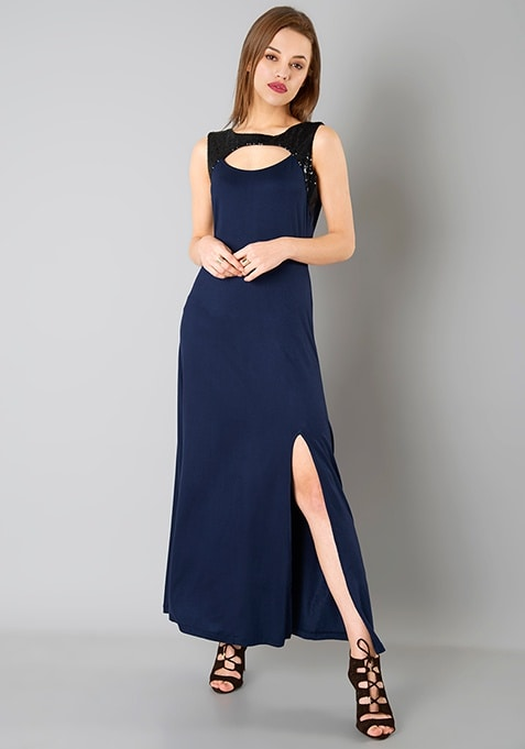 Peek-a-boo Sequin Maxi Dress - Navy